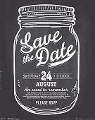 Mason Jar Save the date chalkboard invitation design template