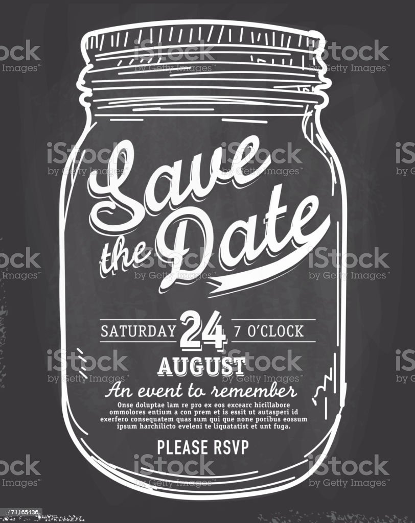 Mason Jar Save the date chalkboard invitation design template vector art illustration