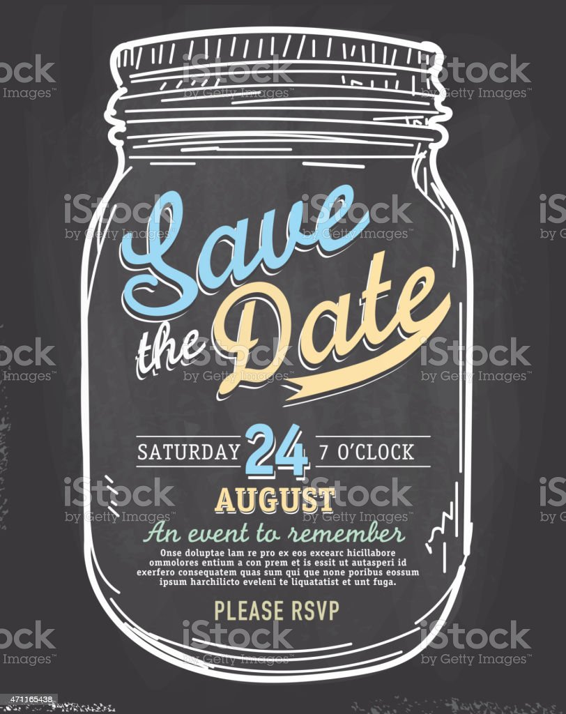 Mason Jar Save The Date Chalkboard Invitation Design Template Stock ...