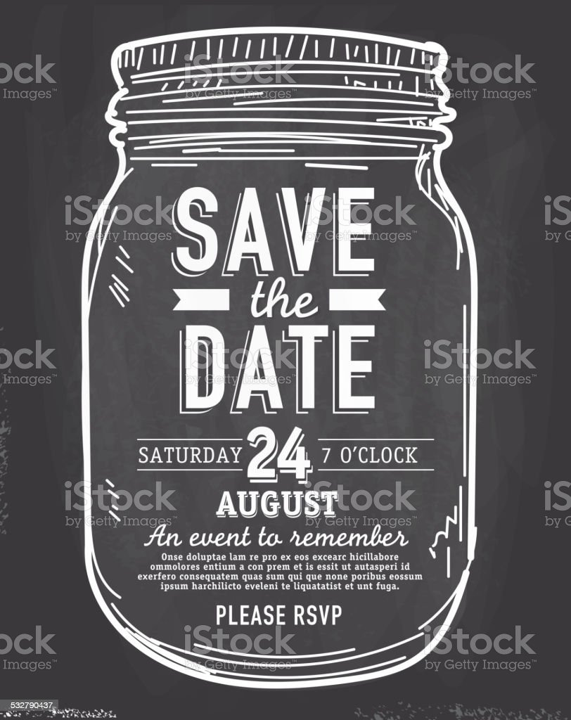 Mason Jar Save the date chalkboard invitation design template vector art illustration