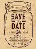 Canning jar Save the date invitation design template. Sketchy simple Mason jar on a textured  vintage paper background. Hand drawn jar. Easy to edit. Perfect for summer barbecue event, picnic celebration, backyard bbq, private or corporate party, birthday party, fun family event gathering, potluck supper. Vector illustration.