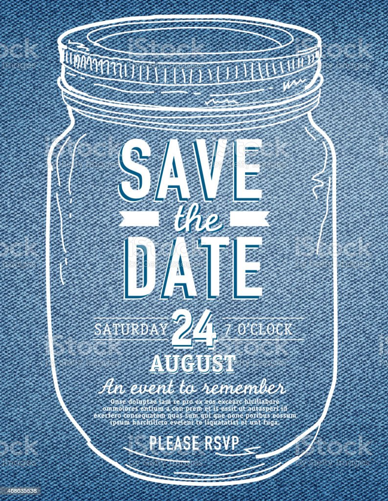 Mason Jar Save The Date Denim Texture Invitation Design Template