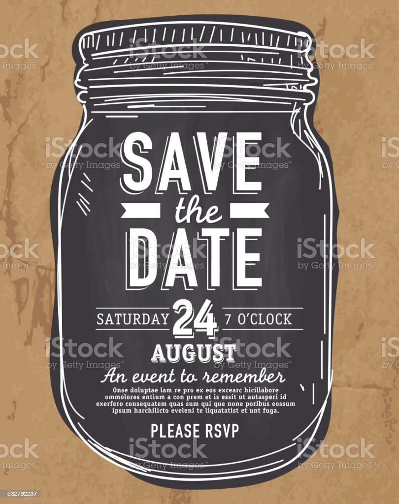 Mason Jar Save The Date Invitation Design Paper Bag Background Stock ...