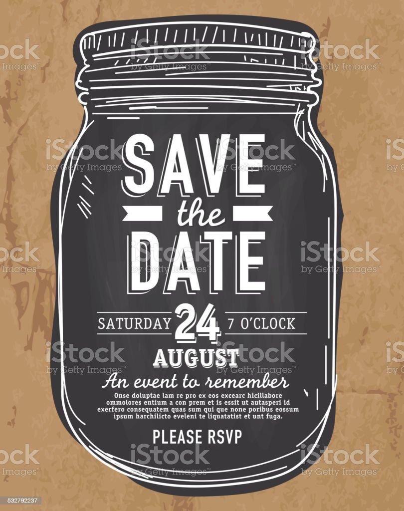 Mason Jar Save the date invitation design paper bag background vector art illustration