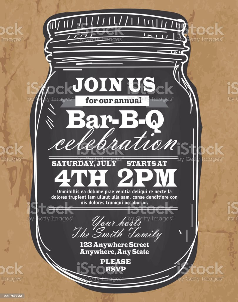 Mason Jar Save the date invitation design template BBQ celebration vector art illustration