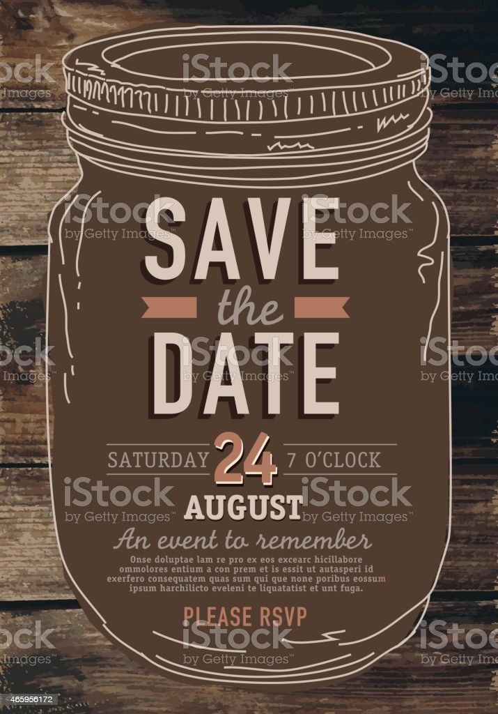 Mason Jar Save the date invitation design template poster vector art illustration
