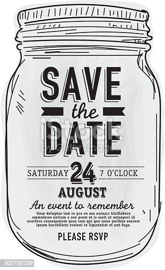 istock Mason Jar Save the date invitation design template 532792239