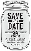 Mason Jar Save the date invitation design template.  Sample text design. Easy layers for customizing.