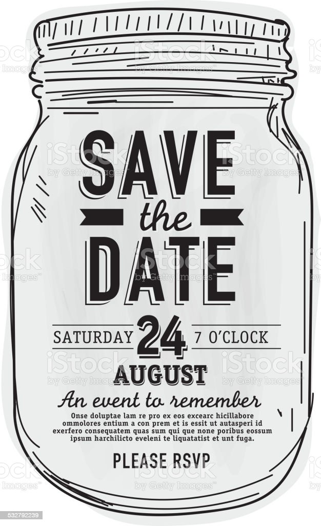 Mason Jar Save the date invitation design template vector art illustration