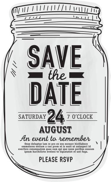 Mason Jar Save the date invitation design template Mason Jar Save the date invitation design template.  Sample text design. Easy layers for customizing. jar stock illustrations
