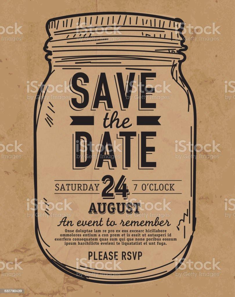 Mason Jar Save the date paper bag invitation design template vector art illustration