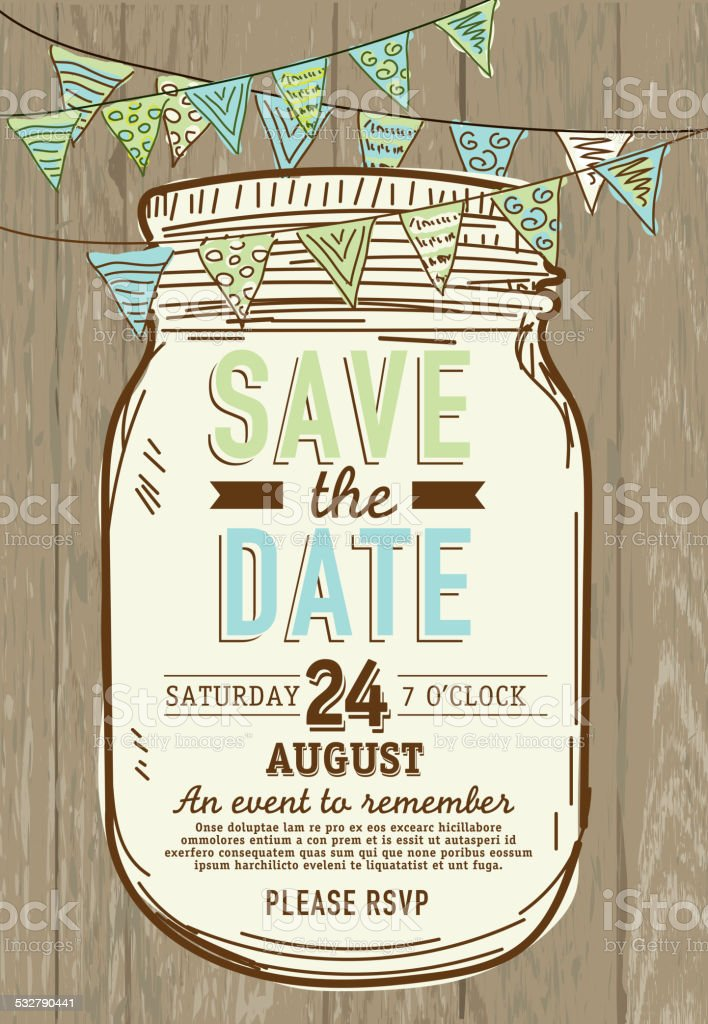 Mason Jar Save the date wooden background invitation design template vector art illustration