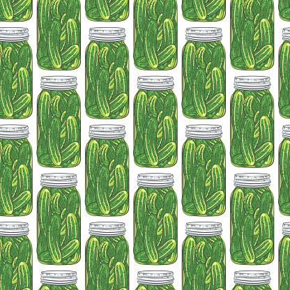 Mason Jar Seamless Pattern Of Dill Pickles