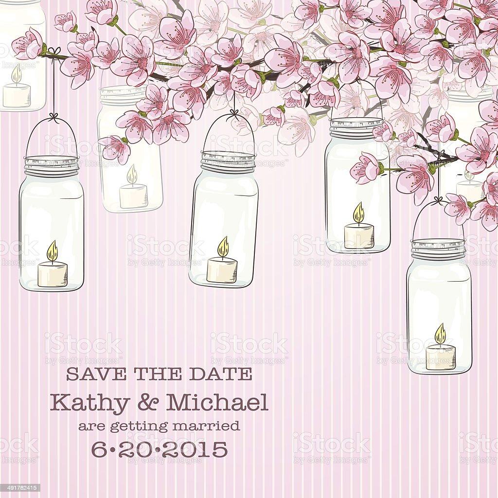 Mason Jars Flowers Wedding Invitation Template Royalty Free