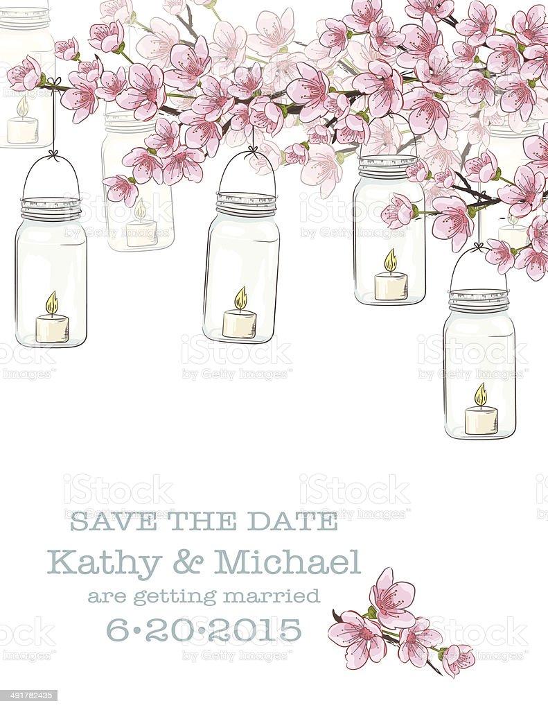 Mason Jars Flowers Wedding Invitation Template Stock Vector Art ...