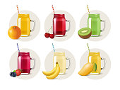Mason jars with juices or smoothies. Vector cold drinks stickers with realistic fruits and berries. Orange, kiwi, cherry, strawberry, blueberry, banana and mango