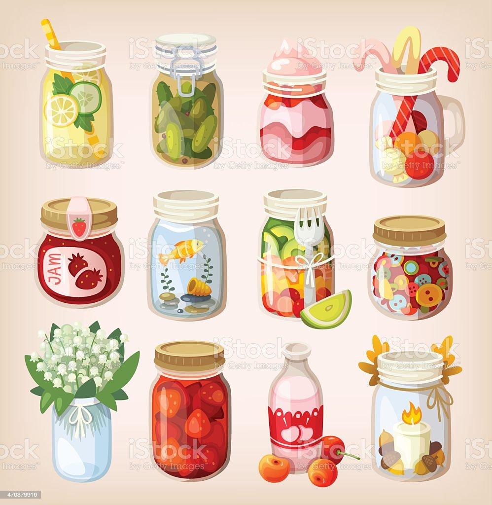 Mason jars with things vector art illustration