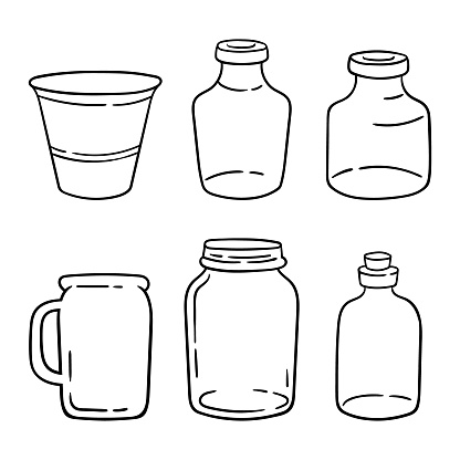 Mason kitchen jar clipart bundle, black and white glass bottles isolated items on white background, outline glassware vector illustrations set
