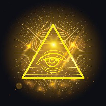 Masonic eye on golden shining background