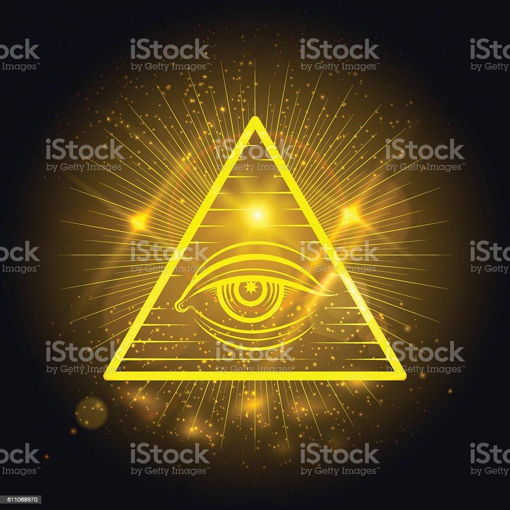 Masonic eye on golden shining background vector art illustration