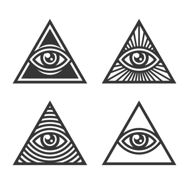 masonic illuminati symbols, eye in triangle sign. vector - lodge member stock illustrations