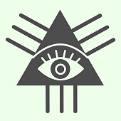 Masonic symbol solid icon. All seeing masons eye triangle glyph style pictogram on white background. Eye Of Providence for mobile concept and web design. Vector graphics