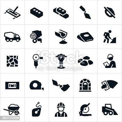 Masonry and concrete construction icons. The icons include cement, concrete, bricks, construction, cement trowel, cement truck, cement mixer, cement bag, construction workers, masons, masonry, cement tools, construction tools, jack hammer, wheel barrow and saw to name a few.