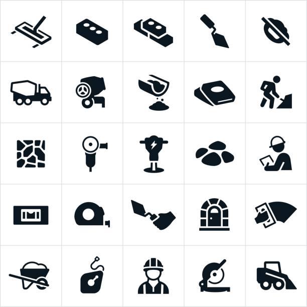 Mauerwerk und Beton Icons – Vektorgrafik