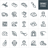 A set of Masonry icons that include editable strokes or outlines using the EPS vector file. The icons include construction workers, masons, bricks, cement, bull float, hand trowel, cement truck, cement mixer, concrete, cement bags, pavers, stone work, jackhammer, rocks, foreman, workers, tape measure, chalk line, hard hat, saw and other equipment.