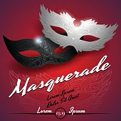Masquerade ball party invitation poster in vector