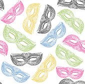 Masquerade Carnival Mask Background Pattern. Vector