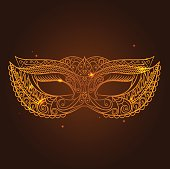 Masquerade Carnival Mask Thin Line on a Dark Brown Background Symbol Of The Holiday. Vector illustration
