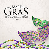 An invitation to the Mardi Gras Masquerade Party with shiny masks and beans on the background
