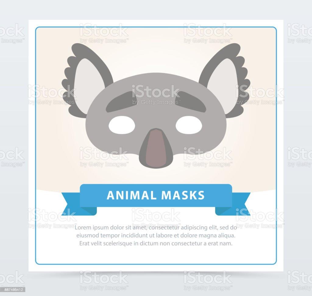 f141489ad66 Maskerade kleurrijke masker van grijze koala met schattige oren. Kinderen s  carnaval accessoire. Platte