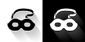 Masquerade Mask Black and White Icon with Long Shadow. This 100% royalty free vector illustration is featuring the square button and the main icon is depicted in black and in white with a black icon on it. It also has a long shadow to give the icons more depth.