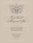 "Hand drawn Sketchy style Masquerade Mask with tan swirly lines vertical Design ""Masquerade Ball"" Party Invitation with text under the mask.  The grey line art drawing mask is above the text.  The invitation is on a taupe background."