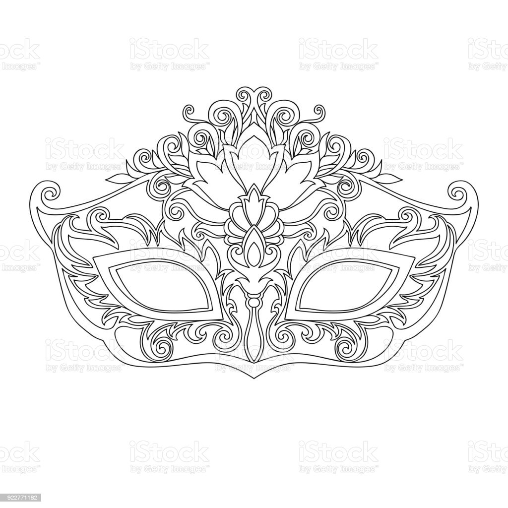 Masquerade Mask For The Black Line Stock Vector Art & More Images of ...