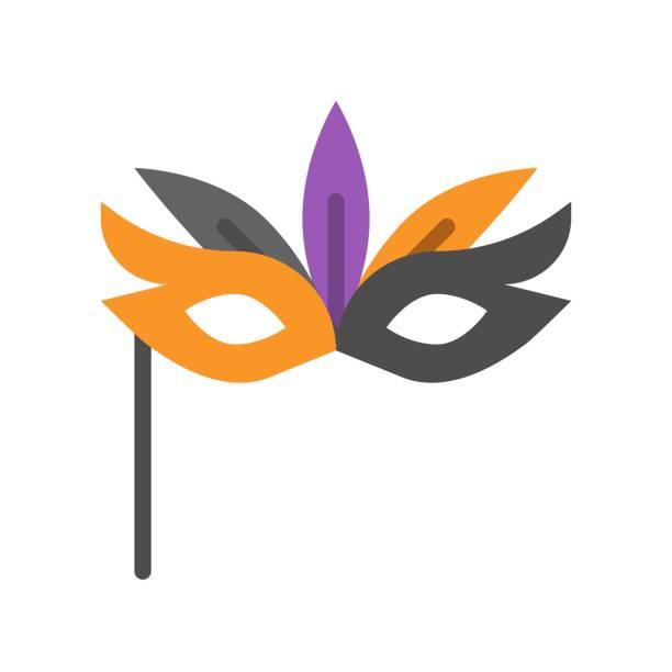 máscara de la mascarada, icono relacionados con Halloween, diseño plano - ilustración de arte vectorial