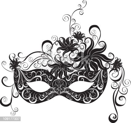 A Masquerade Mask In Black And White Stock Vector Art ...