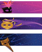 Three masquerade or mardi gras party masks.