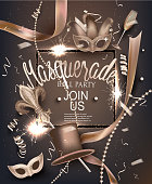 Masquerade party background with deco objects. Vector illustration