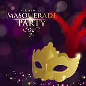 An invitation to the Venice Masquerade Party with golden mask on the deep purple colored background