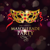 An invitation to the Venice Masquerade Party with golden mask on the dark background