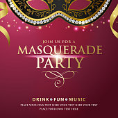 An invitation to the Venice Masquerade Party with carnival mask on the red colored background