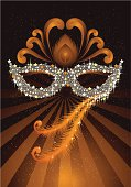 Vector illustration of masquerade ball and party mask