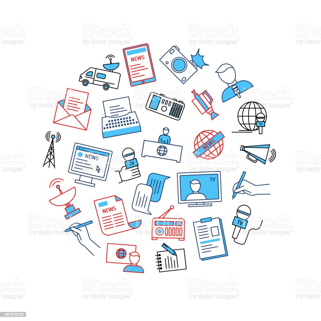 Mass Media And Journalism Round Design Template Vector Stock