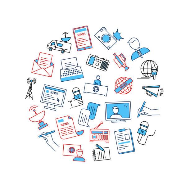 stockillustraties, clipart, cartoons en iconen met massamedia en journalistiek ronde ontwerpsjabloon. vector - journalist