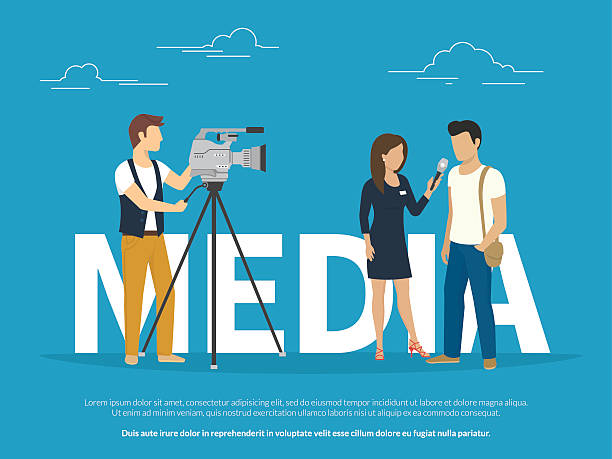 stockillustraties, clipart, cartoons en iconen met mass media concept illustration - journalist