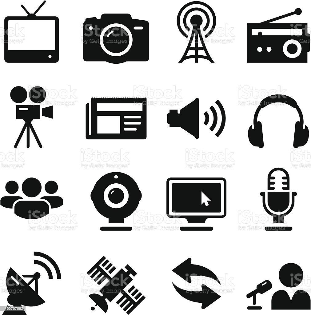 Mass Media Icons - Black Series vector art illustration