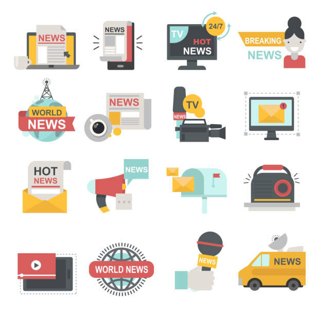 illustrations, cliparts, dessins animés et icônes de icônes des médias de masse sertie de télécommunications radio beaking nouvelles diffusion tv ou site symboles plat isolé illustration vectorielle - interview